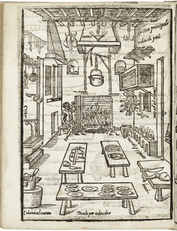 Woodblock print illustrating the proper set up of a kitchen in an Italian cooking manual