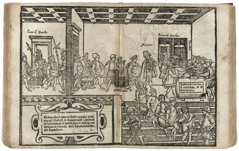 Woodblock print illustrating the serving of meals to the closed conclave of cardinals in an Italian cooking manual
