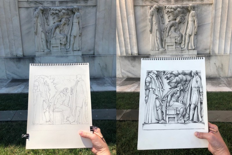 Photographs of drawing in progress outside the Folger Shakespeare Library