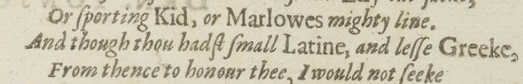A selected passage from the First Folio