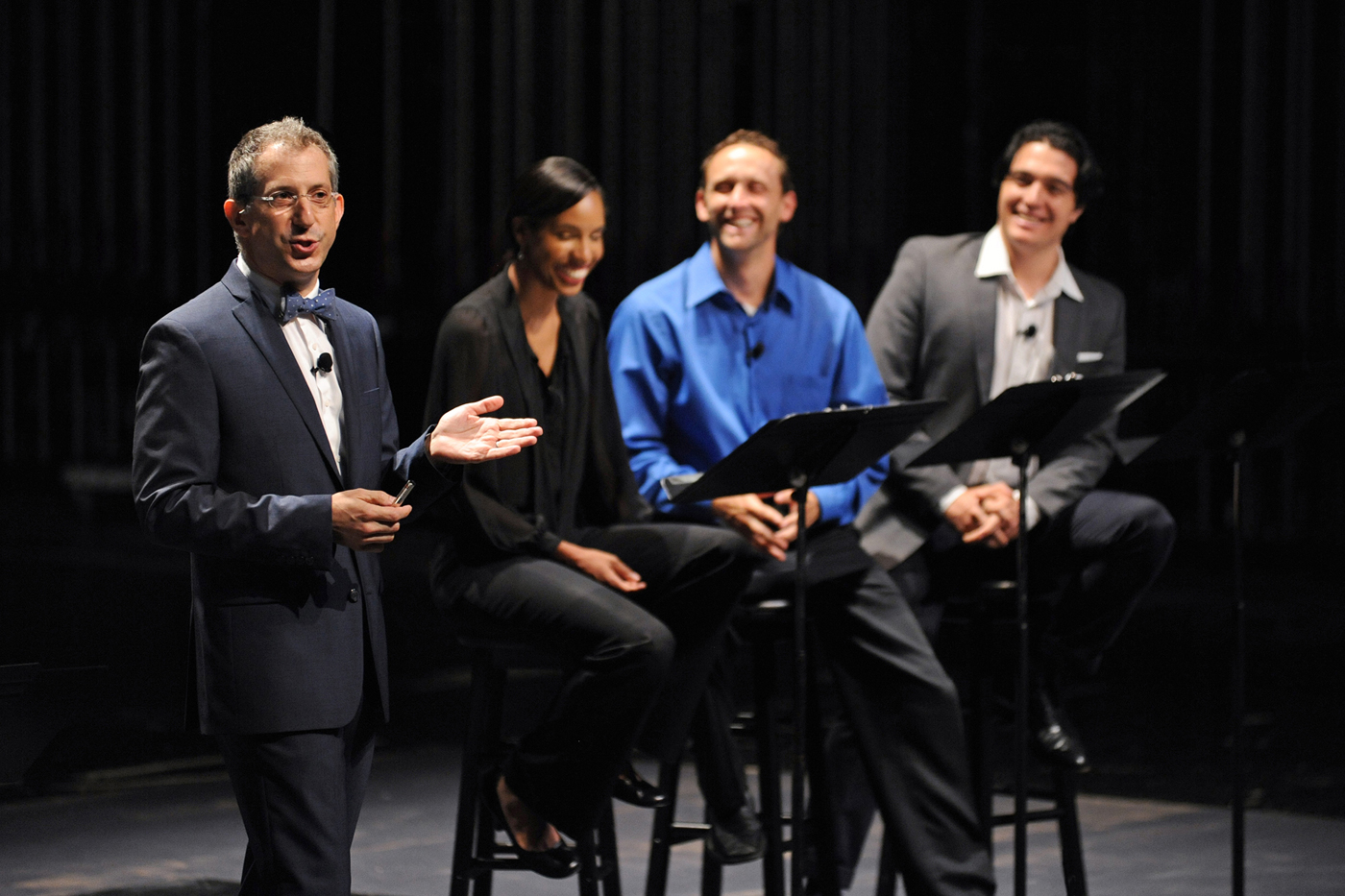 Old Globe Artistic Director Barry Edelstein with actors, during Thinking Shakespeare Live