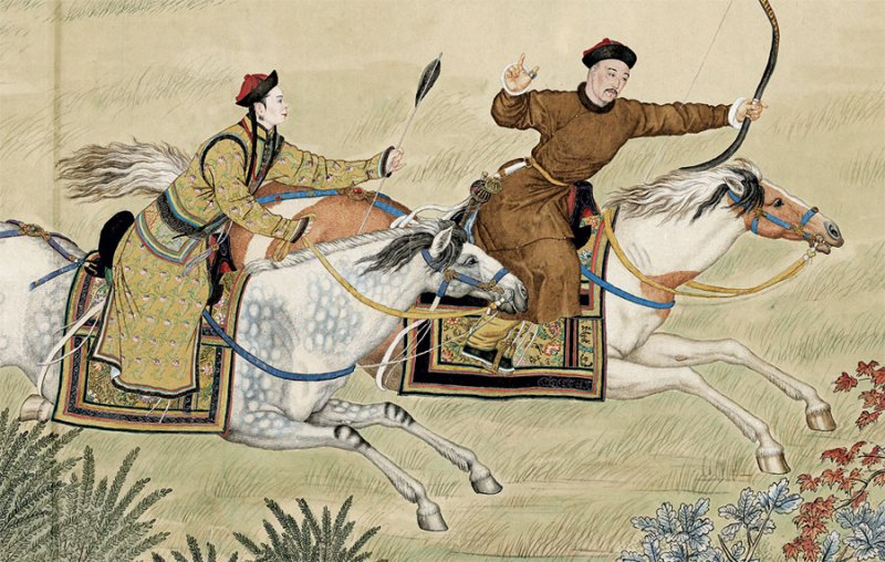 Hunting scene with a man and a woman on horseback