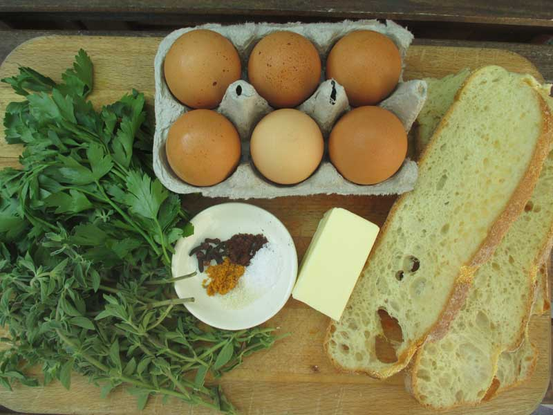 greens and eggs and bread and butter