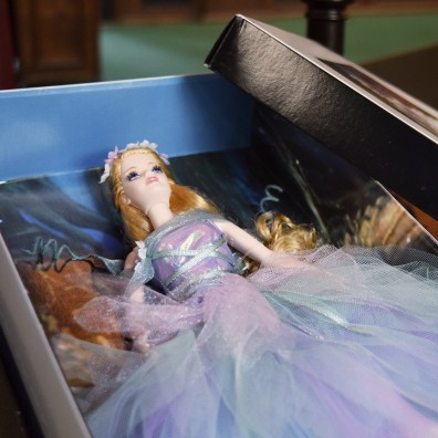 Titania Barbie, from the Classic Ballet Series, in her box.