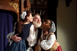 """Emily Classen (Mistress Ford), David Forrer (Falstaff), and Bethany Mayo (Mistress Page) in """"The Merry Wives of Windsor"""" at Baltimore Shakespeare Factory. Photo by Will Kirk."""