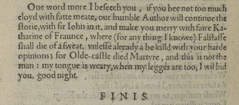 Mention of Sir John Oldcastle in the Epilogue of 2 Henry IV.