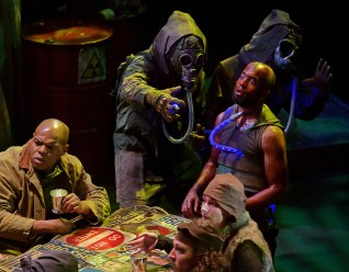 Jordan Gleaves as Banquo, with the cast of Macbeth at the Nashville Shakespeare Festival.