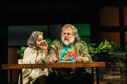"""Kate Eastwood Norris as Mistress Quickly and Brian Mani as Falstaff in """"""""The Merry Wives of Windsor"""" at Folger Theatre. Photo: Cameron Whitman Photography."""