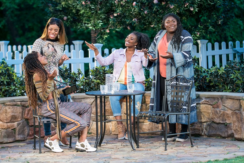 Danielle Brooks (Beatrice), Tiffany Denise Hobbs (Ursula), Margaret Odette (Hero), Olivia Washington (Margaret) in a Shakespeare in the Park production of Much Ado About Nothing. Directed by Kenny Leon.