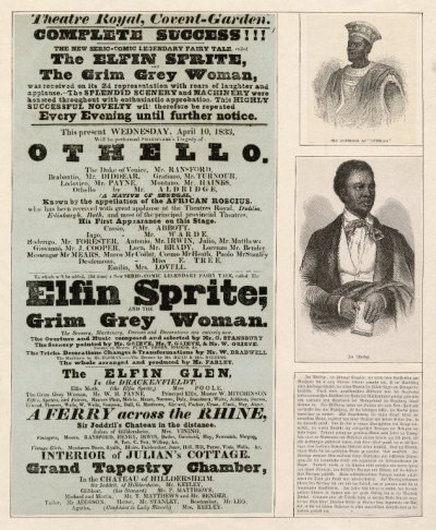 Theatre Royal Covent Garden playbill with pictures of Ira Aldridge