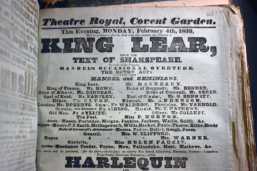 King Lear playbill with William Charles Macready as Lear
