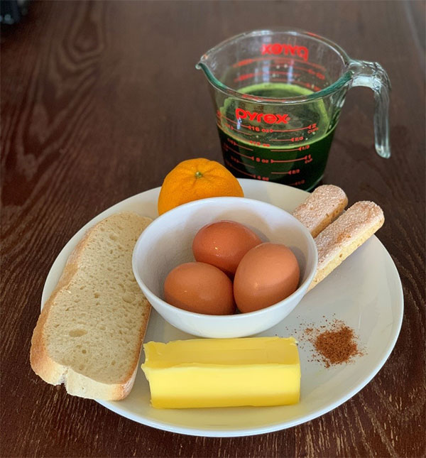 Eggs, butter, bread, spinach juice, ladyfingers, and other ingredients