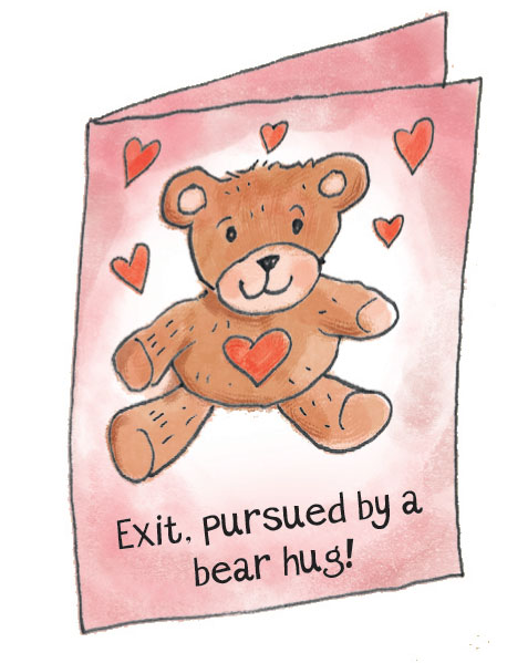Exit pursued by a bear hug