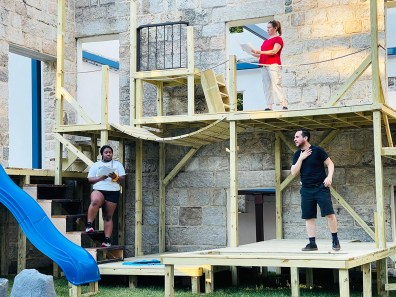 """(Clockwise from top) Molly Moores, Jose Guzman, and Chania Hudson rehearse for """"The Adventures of Pericles."""" Photo: Brandon W Vernon."""