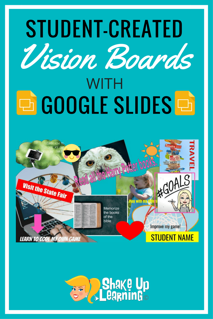 student created vision boards with