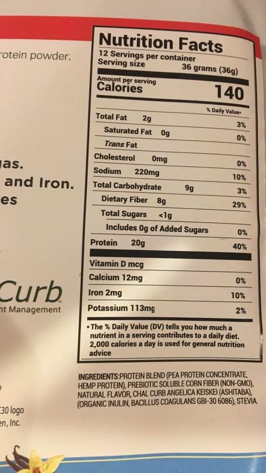zero belly nutrition facts