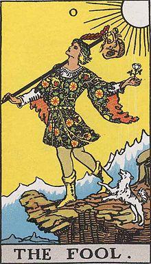 イメージ画像:タロットカード 大アルカナ 0:愚者(The Fool)ー 正位置 意味:危険があるとしてもチャンスへの旅に赴く。