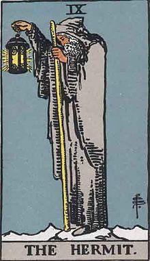 イメージ画像:タロットカード 大アルカナ Ⅸ:隠者(The Hermet)ー 正位置 意味:デトックスと分別