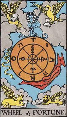 イメージ画像:タロットカード 大アルカナ 10: 運命の輪(Wheel of Fortune)ー 正位置 意味:運命の法則。チャンスは前方に。つかめるかはあなた次第。それを見守るスフィンクス。