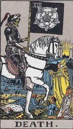 イメージ画像:タロットカード 大アルカナ 死神(Death)ー 正位置 意味:どんな物事にも終わりがある。終焉のサイクル。