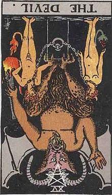 イメージ画像:タロットカード 大アルカナ15:悪魔(The Devil)ー 逆位置 意味:不必要なものを手放す