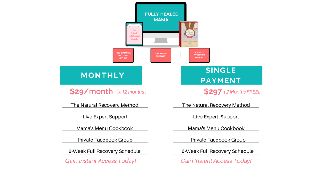 pricing for fully healed mama