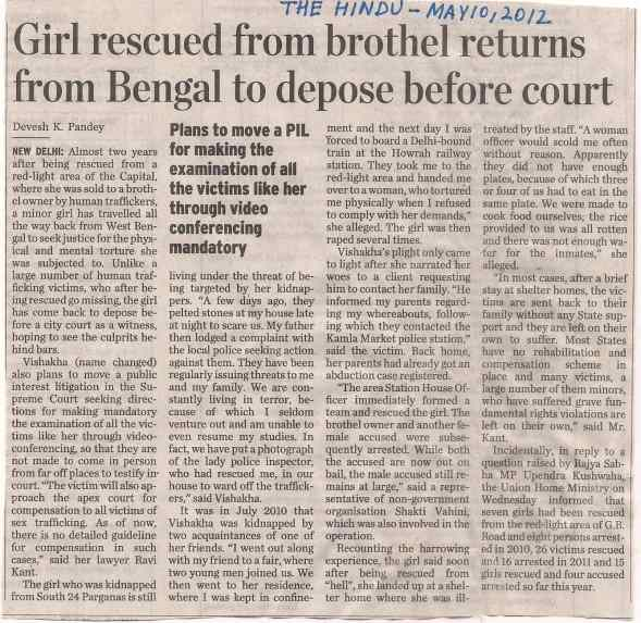 Girl rescued from brothel returns from Bengal to depose before court