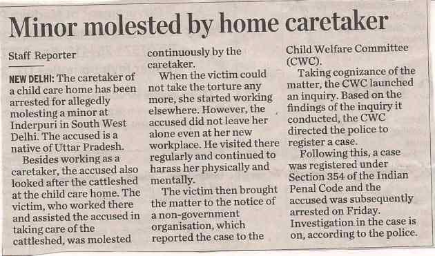 Minor molested by home caretaker