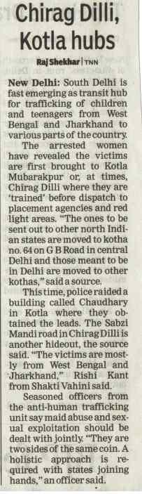 Chirag Dilli, Kotla emerging as transit hub for human trafficking