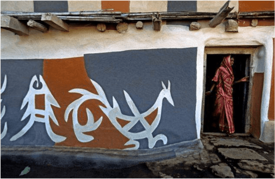 Tribal painting on a wall of a house in a Jharkhand village. (Getty Images photo)