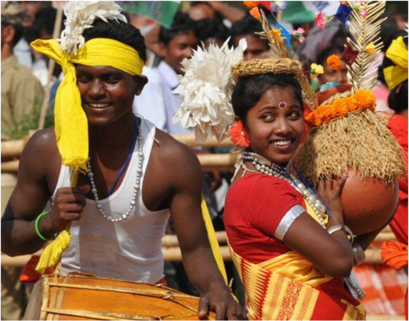 Tribal youths dancing during a political rally in Jharkhand. (Getty Images photo)