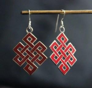 Tibetan Silver Jewelry - Love knot earrings