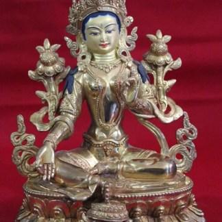 Full Gold Green Tara Statue for sale