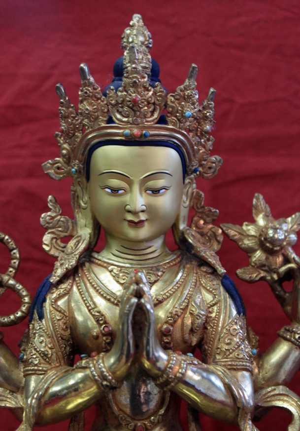 golden buddha chenrezig avalokitesvara statue tibetan meditation altar