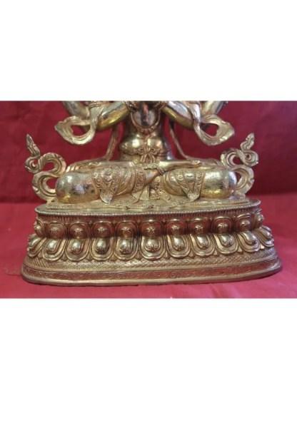 Full gold buddha statue for sale-Chenrezig lotus base
