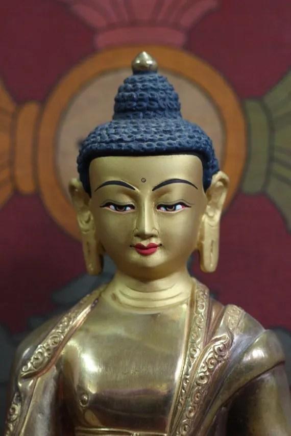 gold statue Amitabha Buddha Statue Face