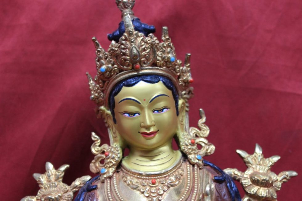 Green Tara Statue Half Gold face