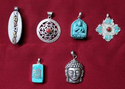 Tibetan Charms Pendants Bundle of six