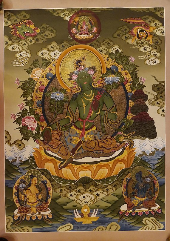Green tara thangka painting