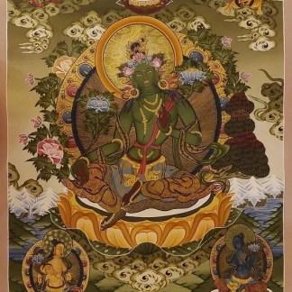 Green tara thangka painting