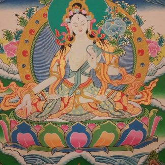 White tara tibetan thangka blue bg 1