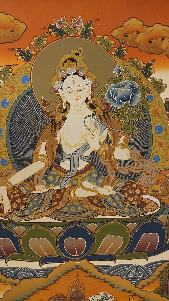 white tara thangka paintings