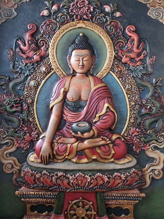 shakyamuni buddha relief thangka