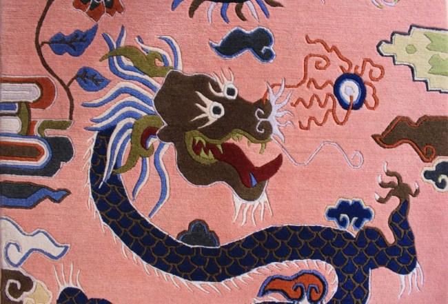 Tibetan rug dragon bird carpet