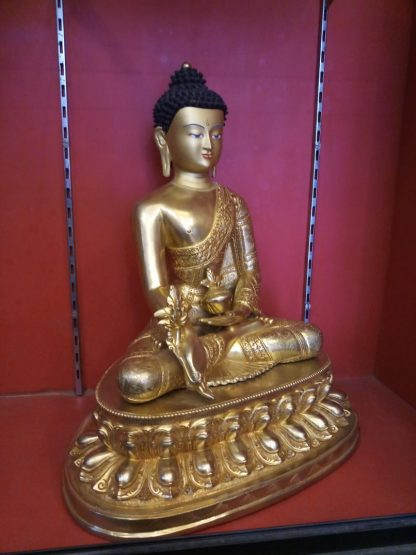 Medicine buddha statue full gold 18 inches full image side view