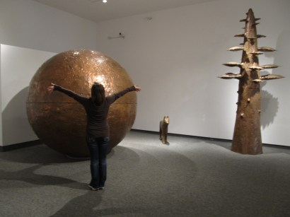 """A Landscape"" involves a to scale copper replica of the moon, a coyote, and a tree. Artist Tom Benner."