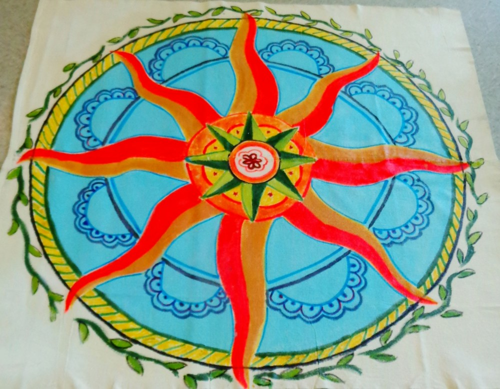 Finished Floor cloth for the solstice decorations on Shalavee.com
