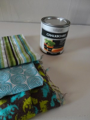 fabrics and chalkboard