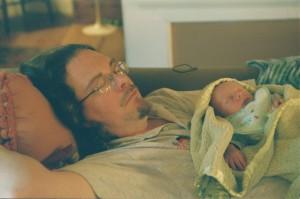 Daddy and baby Eamon sleeping 001