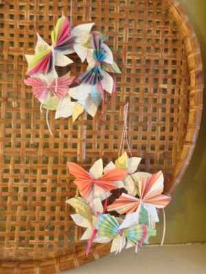 From Shalavee.com, Accordian butterflies on newspaper leaf wreaths